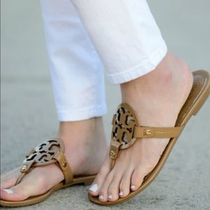 Tory Burch Miller Flat Sandals Patent Leather Sand